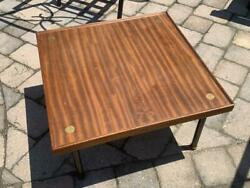 Vintage Wood And Brass Coffee Table By Melchiorre Bega For Klan, 1960s
