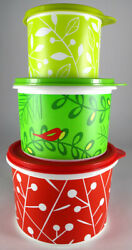 Tupperware Holiday Round Canister Set - Hostess Gift - Nos - Great Colors