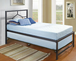 Kings Brand Furniture - Black Metal Twin Size Day Bed Frame With Trundle