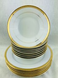 Noritake Plates Bowls Essex Gold 4322 Fine China 6 Dinner Plates And 6 Soup Bowls