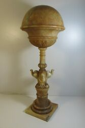 Rare Victorian Period Carved Marble Alabaster Three 3 Eaglets Eagle Lamp 30