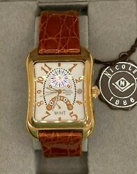 Nicolet 1886 Automatic Nt322036 Men's Watch Gold Tone Leather Band New Rare