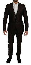 Dolce And Gabbana Suit Men's Maroon Brocade 3 Piece Formal Martini It52/us42/xl