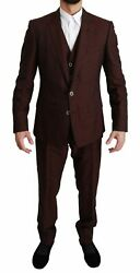 Dolce And Gabbana Suit Menand039s Maroon Brocade 3 Piece Wool Martini It50/us40/l