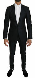 Dolce And Gabbana Suit Men's Blue Gold Slim Fit Silk Wool It44/us34/xs