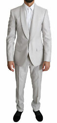 Dolce And Gabbana Suit Men's Light Gray Single Breasted 2 Piece It48/us38/m