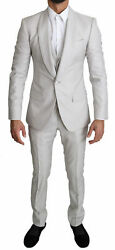 Dolce And Gabbana Suit Men's Silver Single Breasted 3 Piece Wool It56/us46/3xl