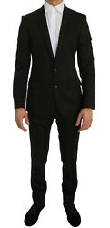 Dolce And Gabbana Suit Men's Brown Wool Crystal Bee Slim Fit Martini It46/us36/s