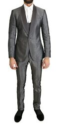 Dolce And Gabbana Suit Menand039s Silver Silk Baroque Single Breasted It48/us38/m