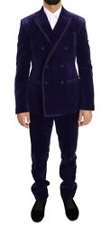 Dolce And Gabbana Suit Men's Purple Velvet Slim Fit Double Breasted It48/us38/m