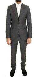Dolce And Gabbana Suit Men's Gray Polka Dotted Slim Fit 3 Piece It44/us34/xs