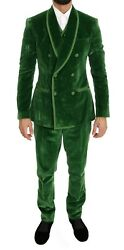 Dolce And Gabbana Suit Men's Green Velvet Slim Fit Double Breasted It46/us36/s