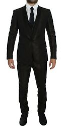 Dolce And Gabbana Suit Menand039s Brown Black Shiny 3 Piece Slim Tuxedo It50/us40/l