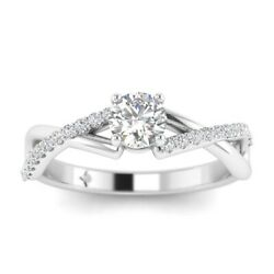 1.15ct F-si2 Diamond Infinity Engagement Ring 18k White Gold Any Size