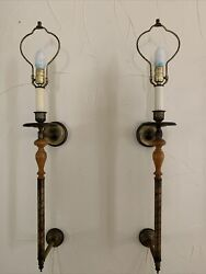 """2- Vtg Rare 38"""" Electric Wall Sconces Brass And Wood Handle 3 Way Castle Medieval"""