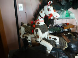 Vintage Painted Wooden Horse Marionette Highly Ornate. Wrought Iron Stand
