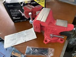 """Vintage Sears 4-1/2'' Bench Vise Red W/ Box Swivel Base Pipe Jaws Anvil Opens 5"""""""