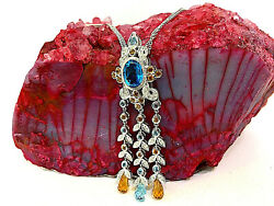 18k White Gold Chandelier Neckace With Diamonds And Topaz 16 Double Chain.