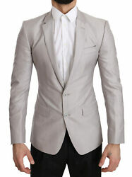Dolce And Gabbana Blazer Menand039s Silver Wool Slim Fit Jacket Coat It44/us34/xs