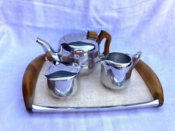 Vintage Picquot Ware Art Deco 4 Piece Tea Set Silver Plate Tray 1950s Lovely