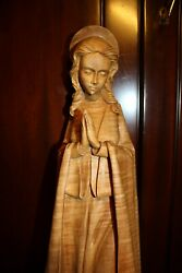☩ Vintage 20 Hand Carved Wooden Our Lady Mary Madonna Immaculate Jesus Statue ☩