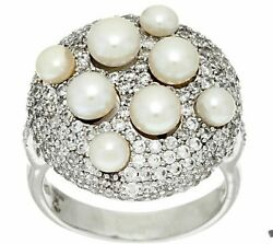 New Honora Cultured Pearl And Pave' White Bronze Ring Size 10 Bag And Box
