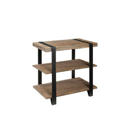 Alaterre Amsa0120 Modesto Metal Strap And Reclaimed Wood End Table With Shelf