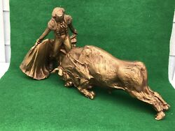 Vintage Bullfighter And Bull Statue - Universal Statuary Co. Chicago 1968
