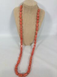 Beautiful Vintage Salmon Coral Undyed Beads Necklace 154.5 G