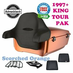 Scorched Orange King Tour Pack Black Hinges And Latch For 97-21 Harley Electra