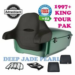 Deep Jade Pearl King Tour Pack Trunk Black Hinge Latch For 97-21 Harley Electra
