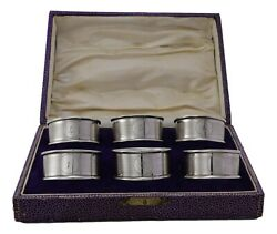 Antique Sterling Silver - Set Of 6 Joseph Gloster Napkin Rings - Boxed - 1928
