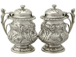 Antique George V, Pair Of Sterling Silver Mustard Pots