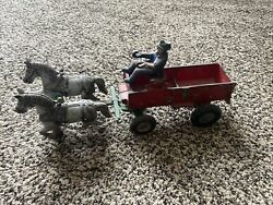 Vintage 1920's Cast Iron Arcade Toys Wagon With 2 Horses And Driver