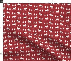 Moose Red Small Woodland Nursery Trees Forest Spoonflower Fabric by the Yard