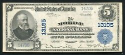 1902 5 The Mobile National Bank Alabama National Currency Ch 13195 About Unc