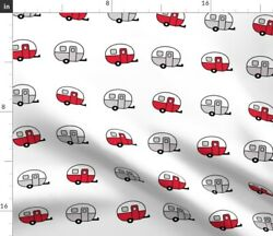 Vintage Red Camper Trailer Canned Ham Spoonflower Fabric By The Yard