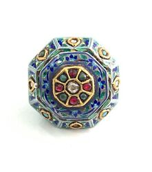 Silver Enemal Perfume Box Ring Stud With Gold , Ruby, Uncut Diamonds, Turquoise