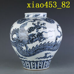 13.92andrdquochinese Antique Porcelain Ming Xuande Blue And White Dragon Pattern Pot