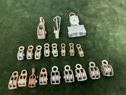 Mixed Lot 20 Vintage Small Miniature Industrial Metal Double Single Pulleys