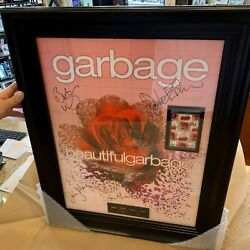 Garbage Autographed / Band Signed Concert Tour Poster Framed With Picks And Pass
