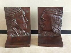 Griffoul Bronze Arts And Crafts Native American Bas Relief Bookends B. Altman