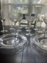 Cambridge Rose Point Elegant Crystal 14 Piece Water And Martini Stemmed Glassware