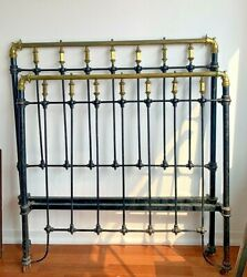 19th Century Cast Iron And Brass Bed Frame--unusually Striking And Stately