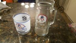 Rare Vintage New England Patriots Glass Mug Fisher Beer Stein And Mobile Glass