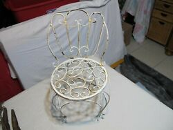 Vintage French White Metal Plant Stand Wrought Iron Small Garden Chair Curly Cue