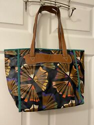 Fossil Purse Med Floral Multicolor Shoulder Canvas Leather Straps VERY USED $3.95