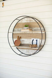 Kalalou Recycled Wood And Black Metal Round Double Wall Hanging Shelf