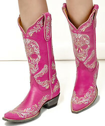 L3191-5 Old Gringo Dulce Calavera Skull Hot Pink 13andrdquo Leather Boots