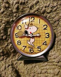 Vintage Peanuts Snoopy Tennis Novelty Wind Up Equity Alarm Clock Working
